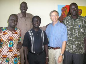 Rev. James Par Tap, the Moderator of the Sudan Presbyterian Evangelical Church (second to the right) with Ayad Samuel, Peter Ramadan, Pastor Peter Johnson and Pastor James Manyang